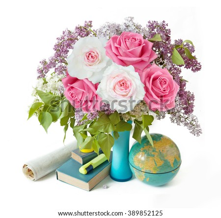 Teacher Day (still life with roses and lilac flowers bunch with books and map isolated on white background) - stock photo