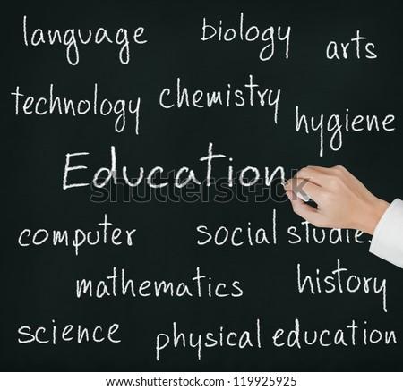 teacher hand writing education concept - stock photo