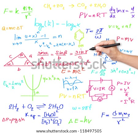 teacher hand writing various high school maths and science formula - stock photo