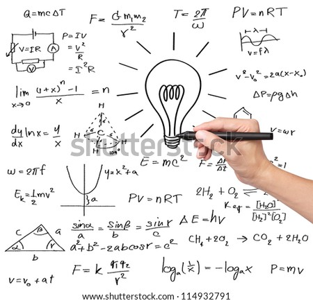 teacher hand writing various high school maths and science formula with light bulb ( symbol of idea and solution ) - stock photo