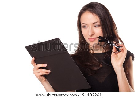 Teacher in glasses with clipboard - stock photo