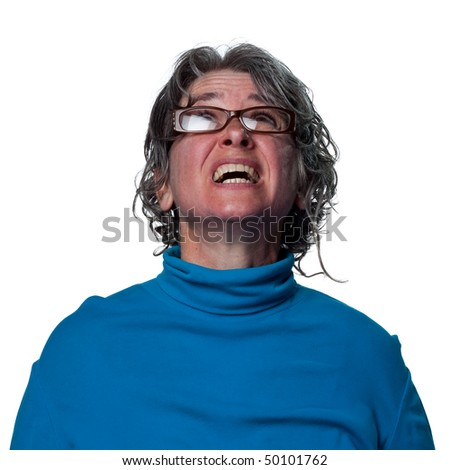 Teacher looking to the sky, watching for something - stock photo