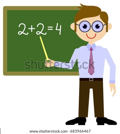 teacher near blackboard raster clip art stock illustration 683966467 rh shutterstock com clipart of a teachers apple clipart picture of a teacher