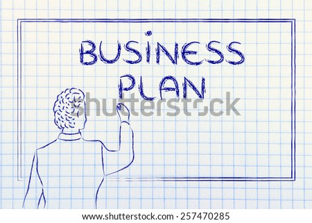 teacher (or ceo) writing on blackboard explaining about business plan