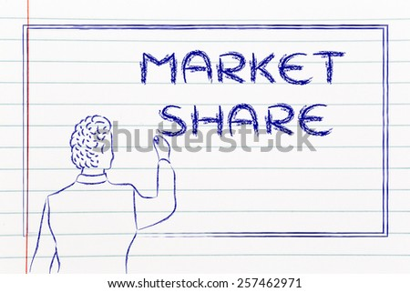 teacher (or ceo) writing on blackboard explaining about market share