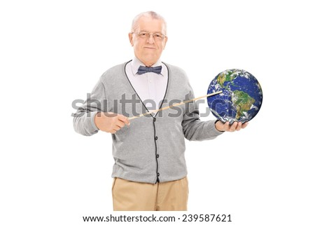 Teacher pointing on the earth with a stick isolated on white background, Earth image in public Domain and furnished by NASA - stock photo