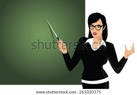 Teacher pointing to blackboard royalty free illustration for Free travel posters for teachers
