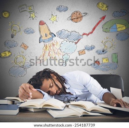 Teacher sleeping on desk during astronomy class