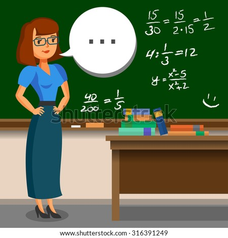 Teacher standing on blackboard background in the classroom