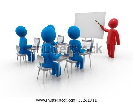 Teacher standing with pointer in hand close to board in front of students. Whiteboard is empty - ready for montage of desired content. Concept of education and learning. - stock photo