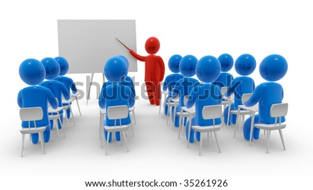 Teacher standing with pointer in hand close to board in front of students. Whiteboard is empty - ready for montage of desired content. Concept of education and learning.
