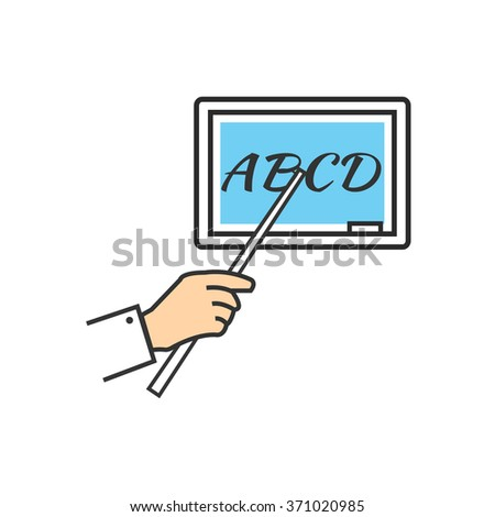 Teacher stands at the blackboard and holding pointer. It shows on the board. Hand pointing to a blank board with pointer. Text on blackboard icon. Interactive board. Character holding pointer. Raster - stock photo