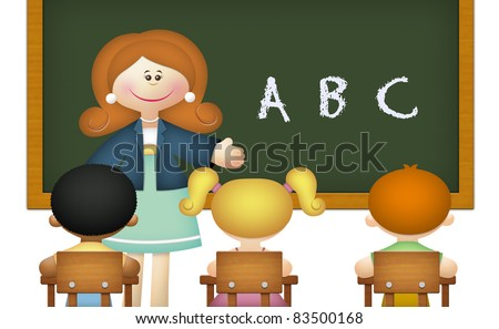 Teacher teaching ABC to students in classroom. - stock photo