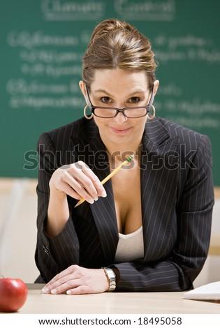 Stern Disciplinarian Businesswoman Holding Ruler Notebook