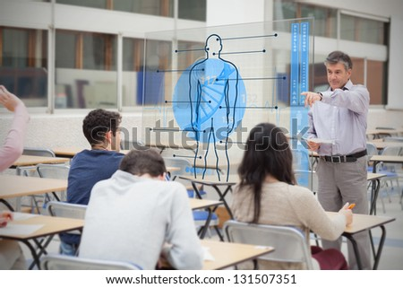 Teacher with futuristic interface with body on it pointing student