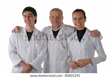 Teacher with medical students. Isolated on white background.