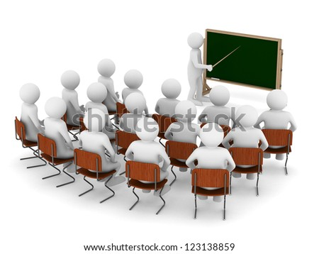 teacher with pointer at blackboard. Isolated 3D image - stock photo