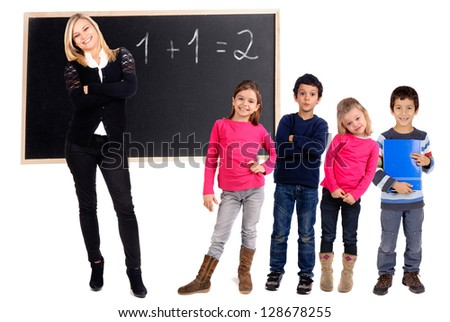 Teacher with students isolated in white - stock photo