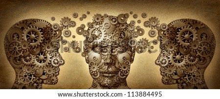 Teaching and learning education concept with human heads in a front and side view made of gears and cogs working together in partnership for career and business success on a grunge old texture. - stock photo