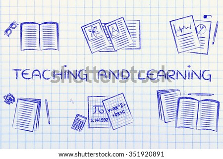 teaching and learning: set of books and notes about various school subjects