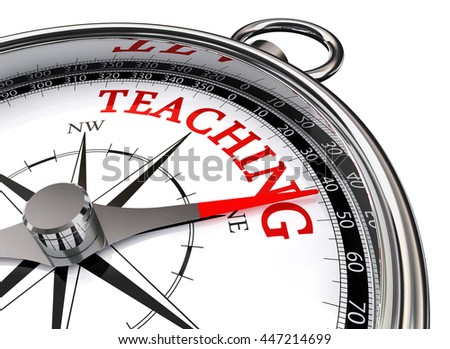 teaching compass concept message, isolated on white background