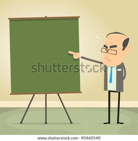 Teaching The Rules/ Illustration of a cartoon old school teacher teaching moral values and discipline