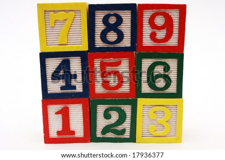 Teaching tool, for teaching numbers and counting, numbers carved into cubes