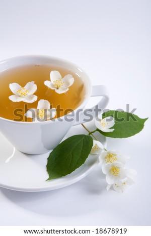 teacup with jasmine - stock photo