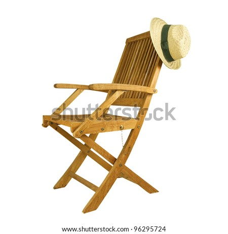 teak deck chair with sun hat on a white background - stock photo