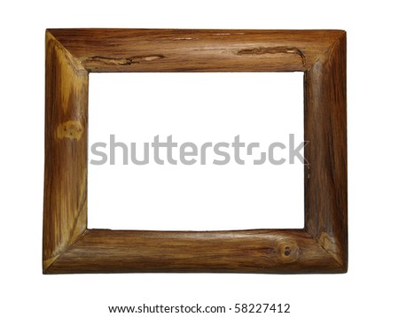 Teak frame of photo on white background - stock photo