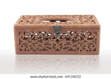 Teak tissue box - stock photo