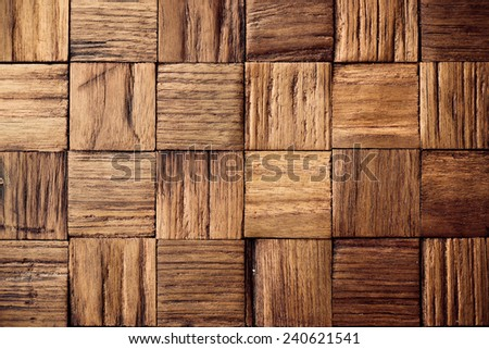 teak wood background texture with square patterns - stock photo