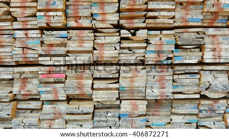 Teak wood lumber stack - stock photo