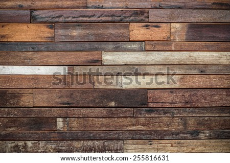 teak wood plank wall for decoration - stock photo