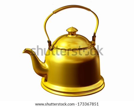 teakettle for heating water in gold