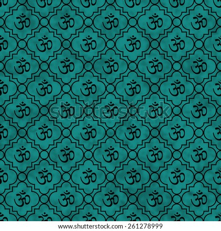 Teal and Black Aum Hindu Symbol Tile Pattern Repeat Background that is seamless and repeats - stock photo