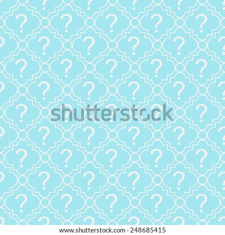 Teal and White Question Mark Symbol Pattern Repeat Background that is seamless and repeats - stock photo