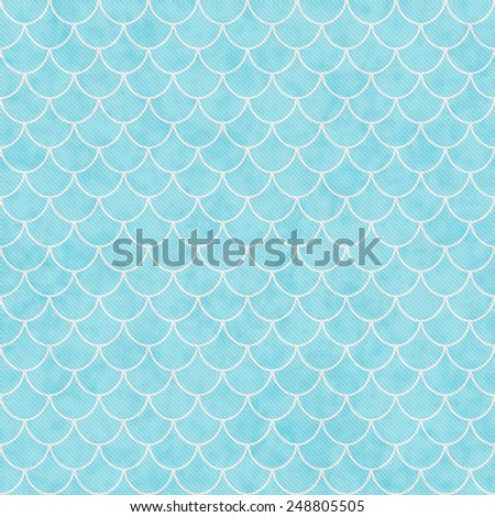 Teal and White Shell Tiles Pattern Repeat Background that is seamless and repeats - stock photo