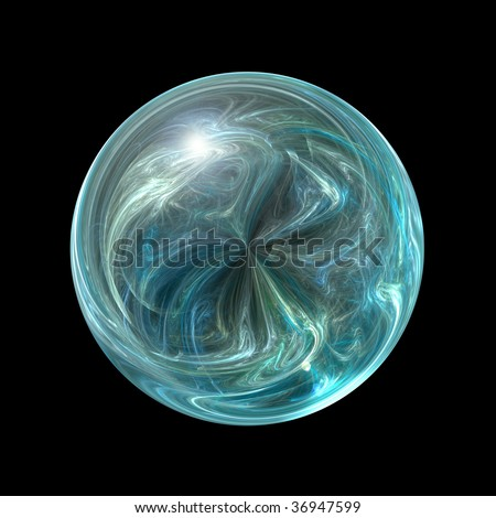 Teal colored glass orb that looks like a marble isolated on white background. - stock photo