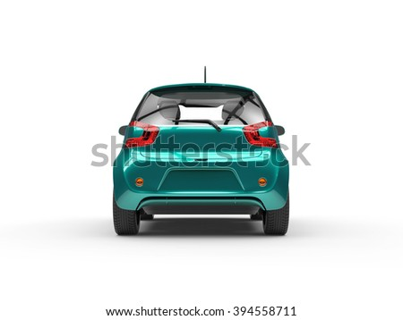 Teal Compact Car - Rear View - stock photo