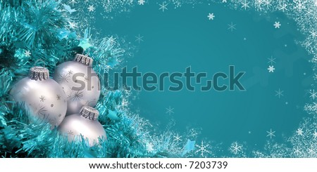 Teal /Cyan colored Christmas card with ornaments and snowflakes - stock photo