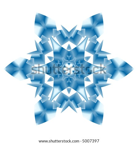 Teal fractal snowflake on white background. - stock photo