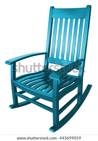 teal rocking chair facing left on a porch isolated painted wood country relaxing beach furniture traditional contemporary wooden friendly welcoming hospitality chairs living comfortable
