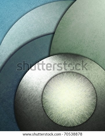 teal tone background of green and blue colored circles with scratch grunge texture and soft highlights, and copy space button for adding title or text to your cover - stock photo