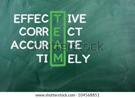 TEAM acronym written on green chalckboard - stock photo
