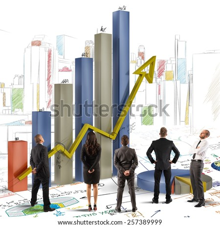 Team analyzes graphics and profits of company - stock photo