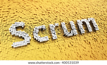 Team and time management system. Pixelated word Scrum made from cubes, mosaic pattern. 3D illustration graphics - stock photo
