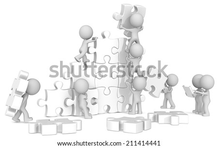 Team Building. The dude x 9 building large white puzzle from blueprint.  - stock photo