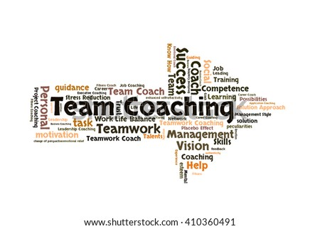 Team Coaching word cloud shaped as a arrow - stock photo