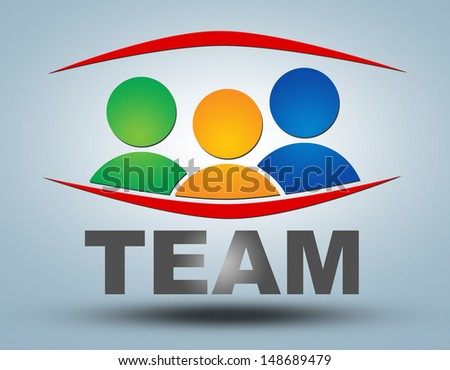 Team - communication concept with sign and text - stock photo